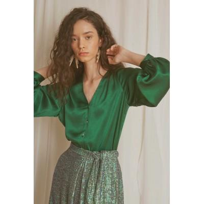 Blusa satén esmeralda